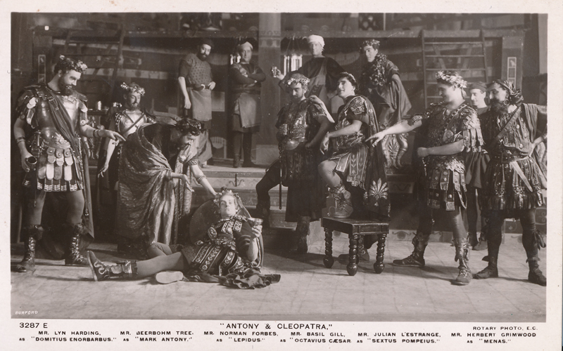 "Lyn Harding as Domitius Enorbarbus, H.B. Tree as Antony, Norman Forbes as Lepidus, Basil Gill as Octavius Caesar, Julian L'estrange as Sextus Pompeius, and Herbert Grimwood as Menas in ""Antony and Cleopatra"""