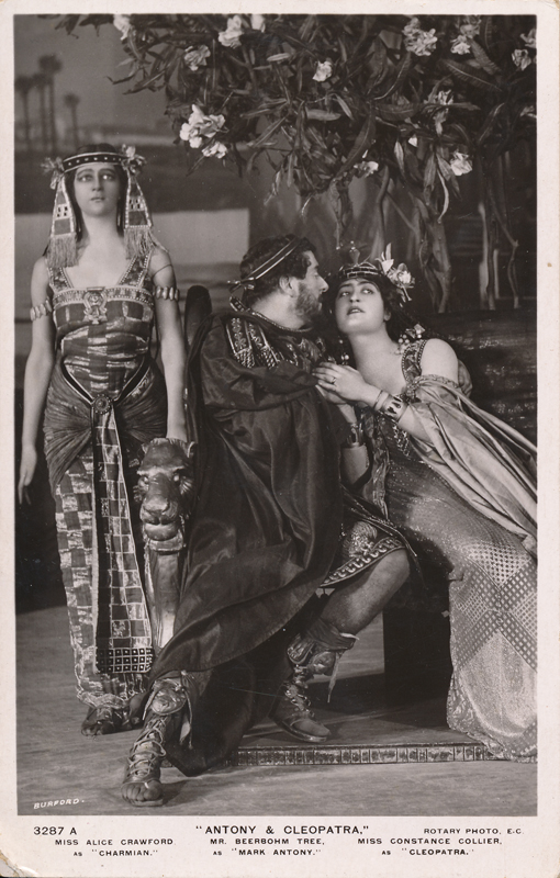 "Alice Crawford as Charmain, Herbert Beerbohm Tree as Mark Antony, and Constance Collier as Cleopatra in ""Antony and Cleopatra"""