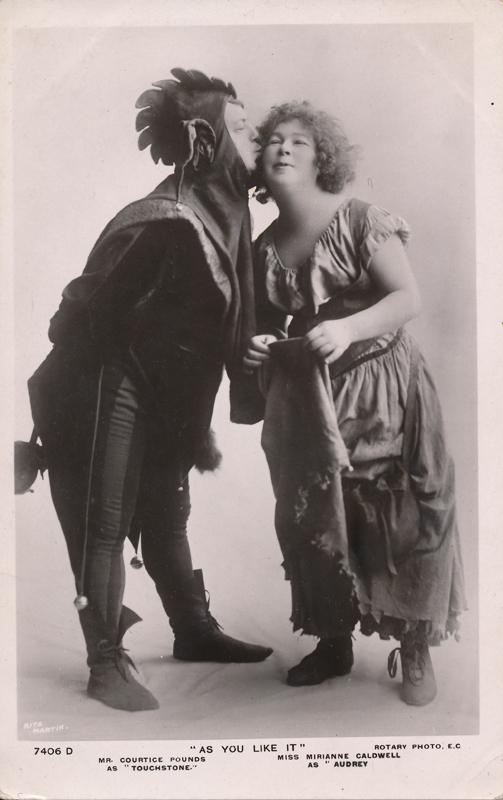 "Courtice Pounds as Touchstone and Mirianne Caldwell as Audrey in ""As You Like It"""