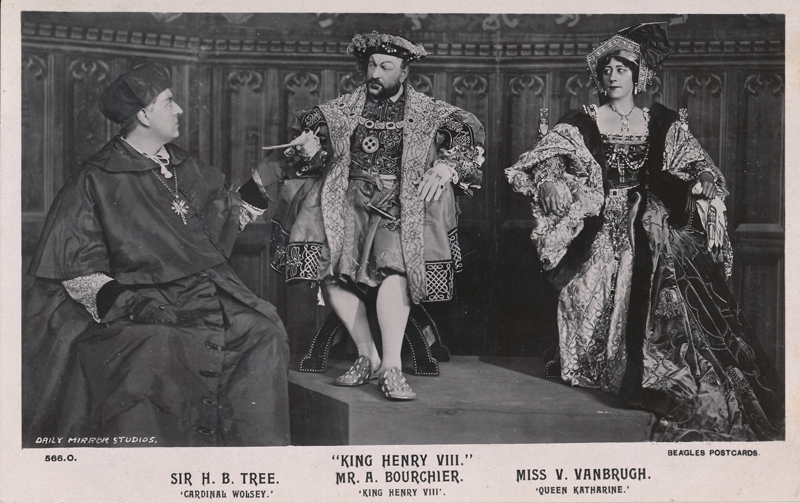 "Sir Herbert Beerbohm Tree as Cardinal Wolsey, Arthur Bourchier as King Henry VIII, and Violet Vanbrugh as Queen Katherine in ""Henry VIII"""