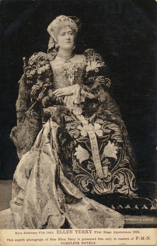 "Ellen Terry as Queen Katherine in ""Henry VIII"""