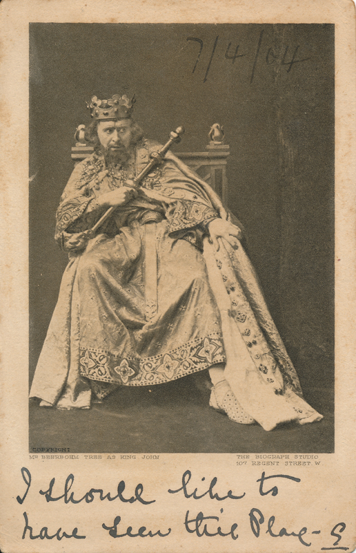 "Herbert Beerbohm Tree as King John in ""King John"""