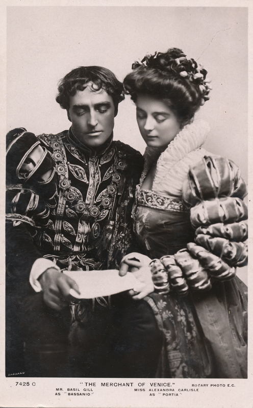 "Basil Gill as Bassanio and Alexandra Carlisle as Portia in ""The Merchant of Venice"""
