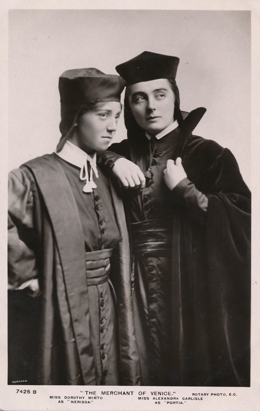 "Dorothy Minto as Nerissa and Alexandra Carlisle as Portia in ""The Merchant of Venice"""