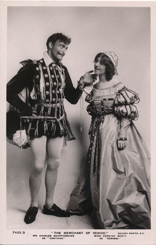 "Charles Quartermaine as Gratiano and Dorothy Minto as Nerissa in ""The Merchant of Venice"""