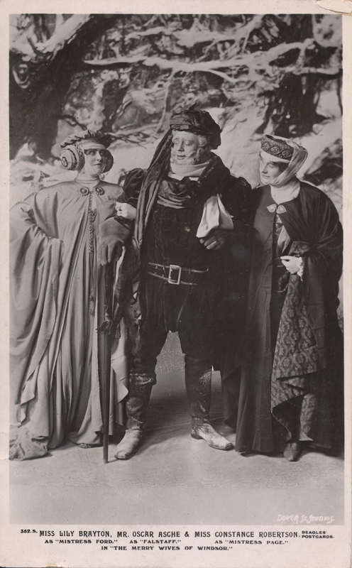 "Lily Brayton as Mistress Ford, Oscar Asche as Falstaff, and Constance Robertson as Mistress Page in ""The Merry Wives of Windsor"""