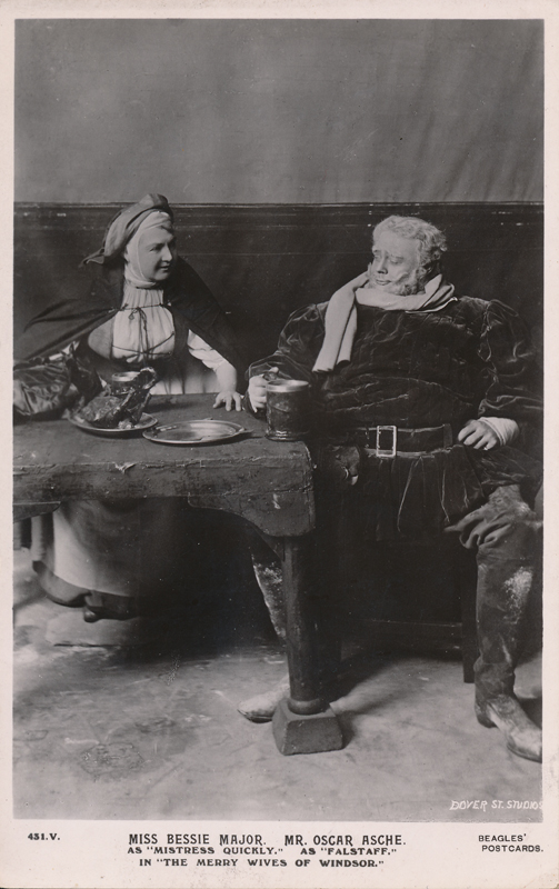 "Bessie Major as Mistress Quickly and Oscar Asche as Falstaff in ""The Merry Wives of Windsor"""