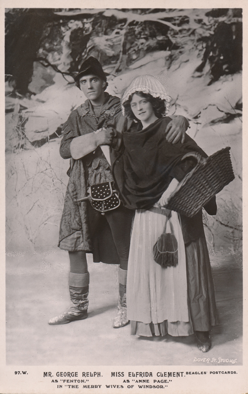 "George Relph as Fenton and Elfrida Clement as Anne Page in ""The Merry Wives of Windsor"""