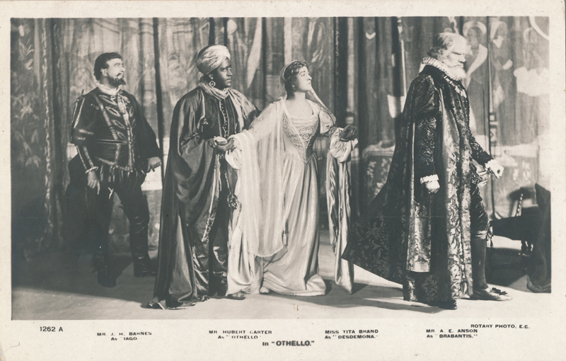 "J. H. Barnes as Iago, Hubert Carter as Othello, Tita Brand as Desdemona, and A. E. Anson as Brabantio in ""Othello"""
