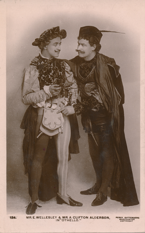 "E. Wellesley as Roderigo and Clifton Alderson as Iago in ""Othello"""
