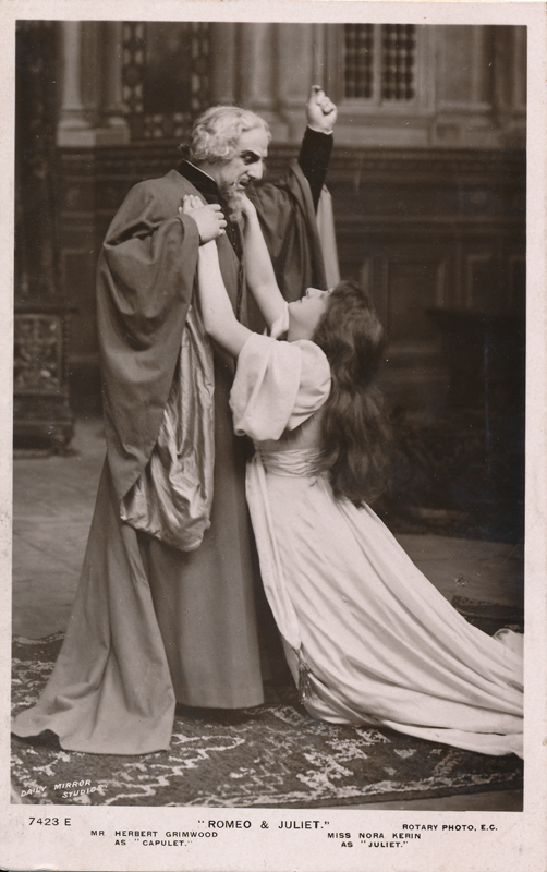 "Herbert Grimwood as Capulet and Nora Kerin as Juliet in ""Romeo and Juliet"""