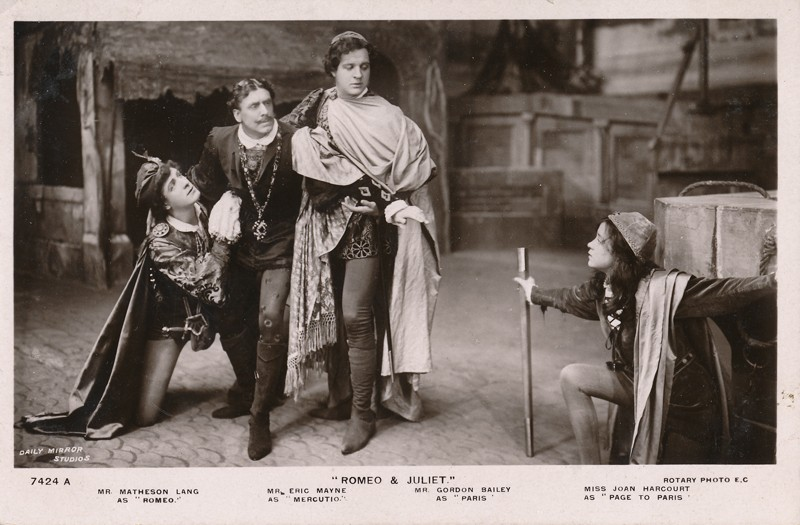 "Matheson Lang as Romeo, Eric Mayne as Mercutio, Gordon Bailey as Paris, and Joan Harcourt as The Page in ""Romeo and Juliet"""