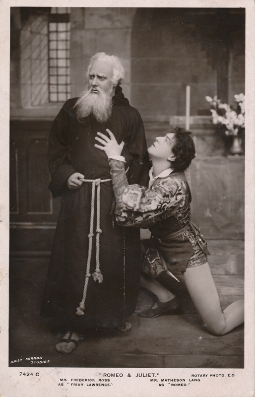 "Frederick Ross as Friar Lawrence and Matheson Lang as Romeo in ""Romeo and Juliet"""