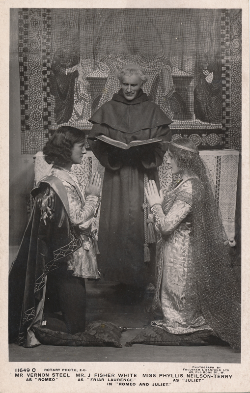 "Phyllis Neilson-Terry as Juliet, J. Fisher White as Friar Laurence, and Vernon Steel as Romeo in ""Romeo and Juliet"""