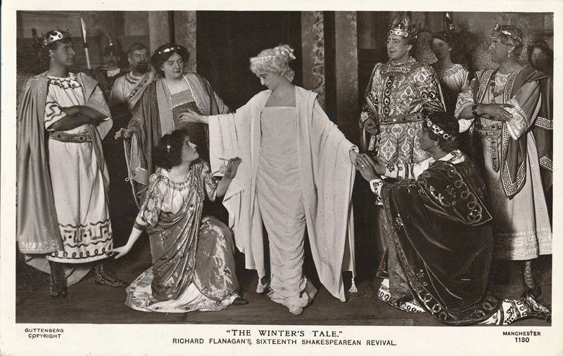 "Una Rashleigh as Paulina, Harvey Braban as Florizel, and Lilian Christine as Perdita in ""The Winter's Tale"""
