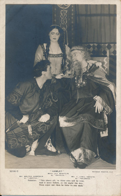 "Lily Brayton as Ophelia, Walter Hampden as Laertes, and E. Lyall Swete as Polonius in ""Hamlet"""