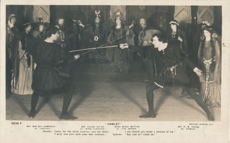 "Walter Hampden as Laertes, Oscar Asche as Claudius, Maud Milton as Gertrude, and H.B. Irving as Hamlet in ""Hamlet"""