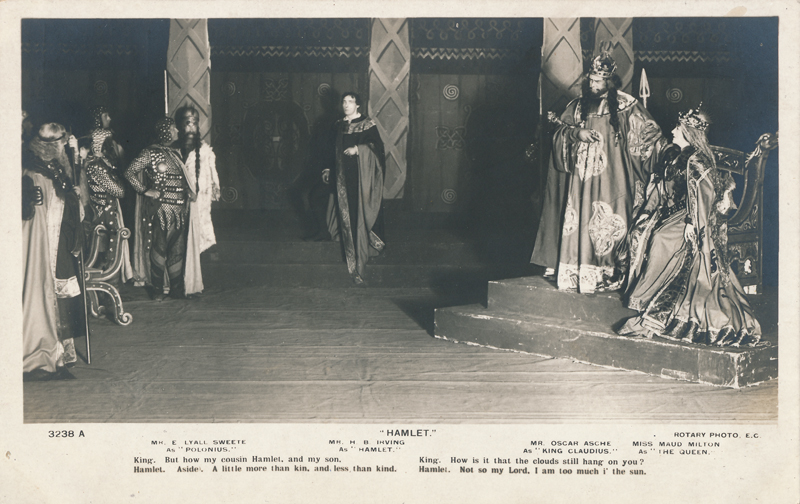 "E. Lyall Swete as Polonius, H. B. Irving as Hamlet, Oscar Asche as Claudius, and Maude Milton Gertrude in ""Hamlet"""