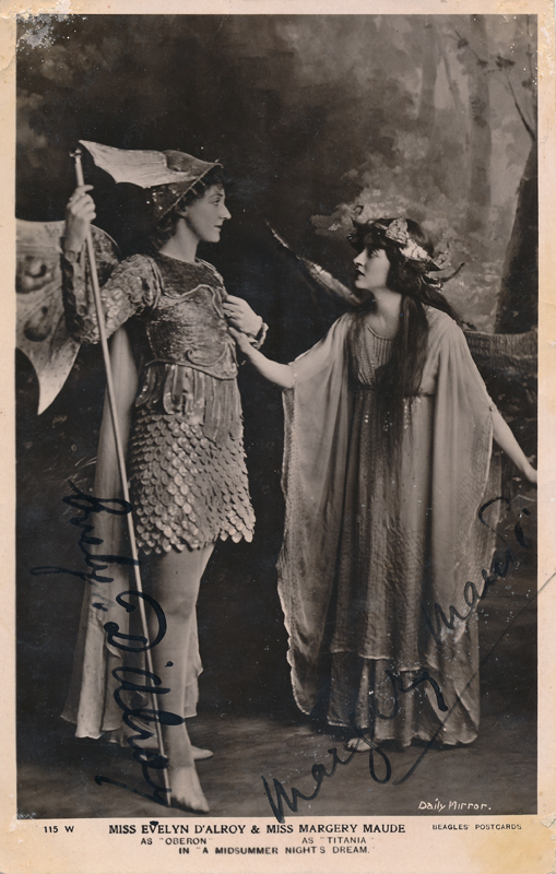 "Evelyn D'Alroy as Oberion and Margery Maude as Titania in ""A Midsummer Night's Dream"""