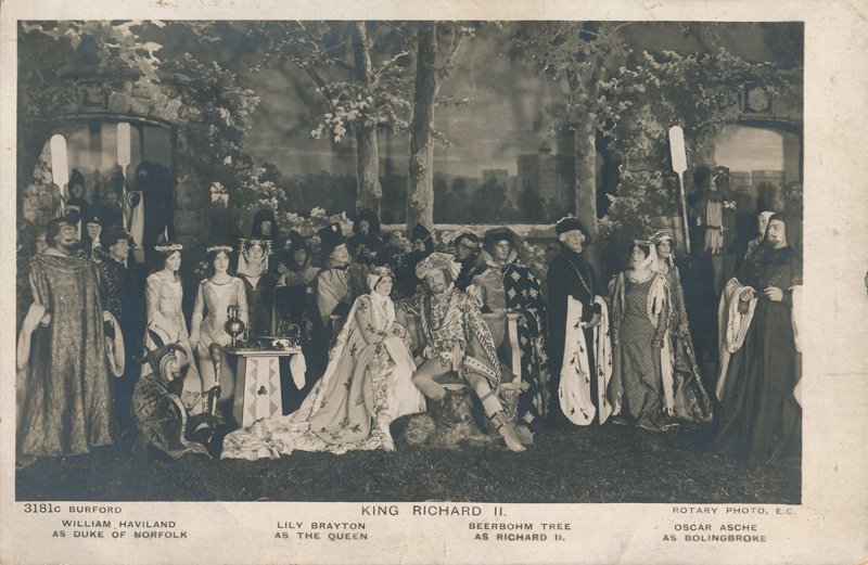 "Lily Brayton as The Queen, Herbert Beerbohm Tree as Richard II, William Haviland as the Duke of Norfolk, and Oscar Asche as Henry Bolingbroke in ""Richard II"""