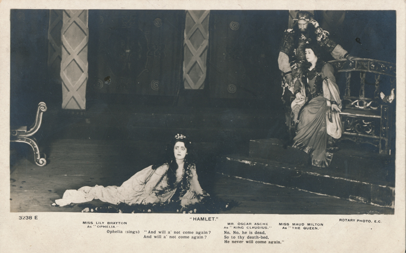 "Lily Brayton as Ophelia, Oscar Asche as Claudius, and Maud Milton as Gertrude in ""Hamlet"""