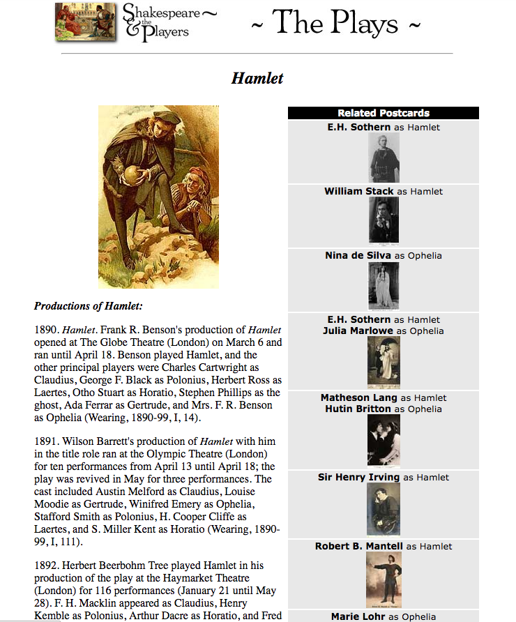 This screenshot is an example of the way an individual play's page looked in 2003. The layout is clearly inspired by print media, with the image at the top and paragraphs of text below one might expect in a printed book chapter.
